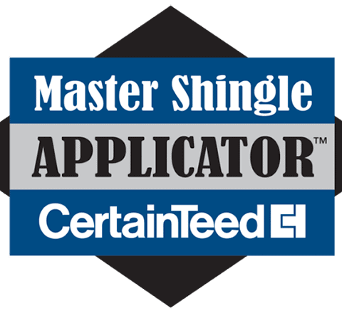 The Certainteed Master Shingle Applicator certification badge
